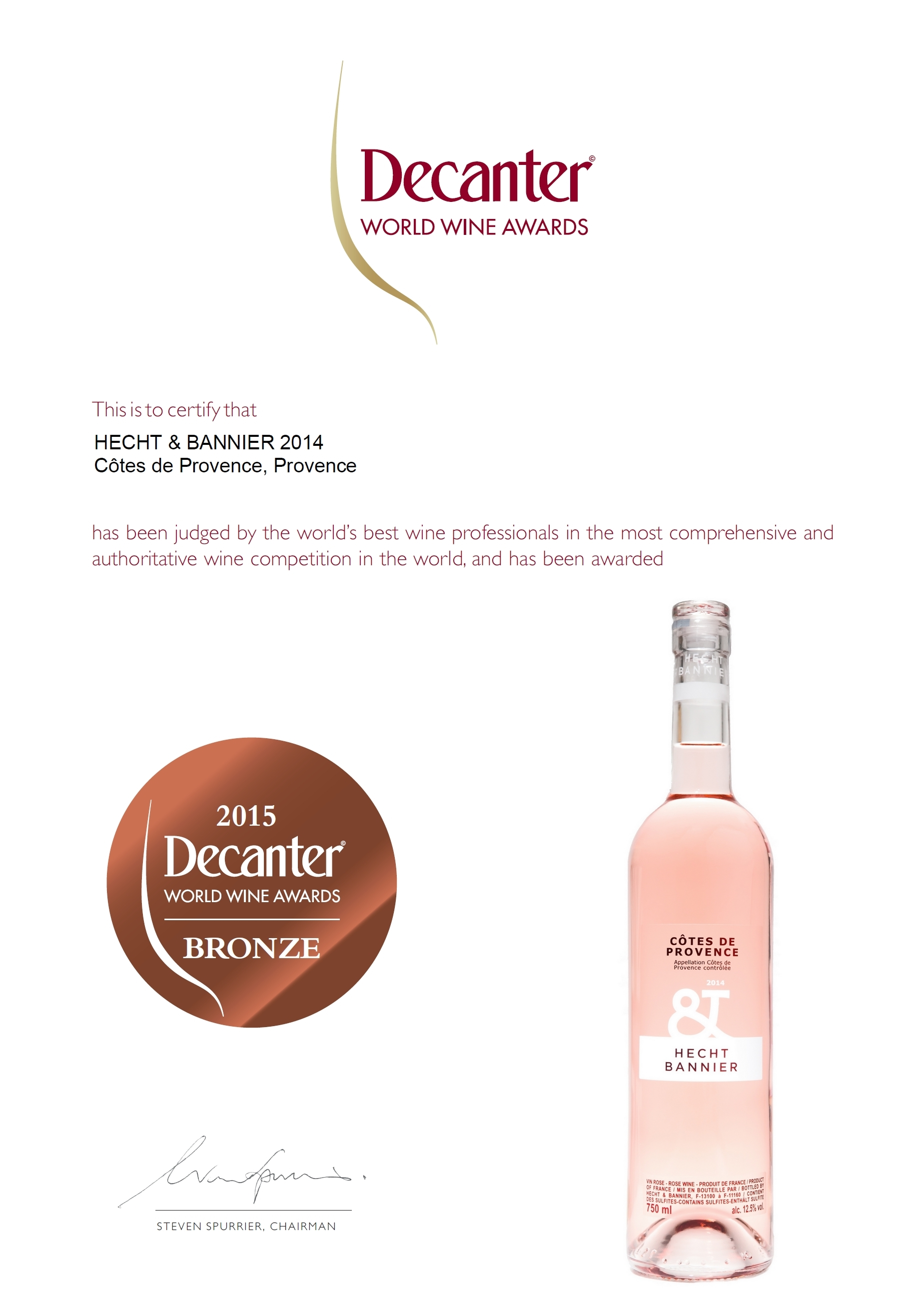 decanter world wine awards 2015 / côtes de provence rosé 2014