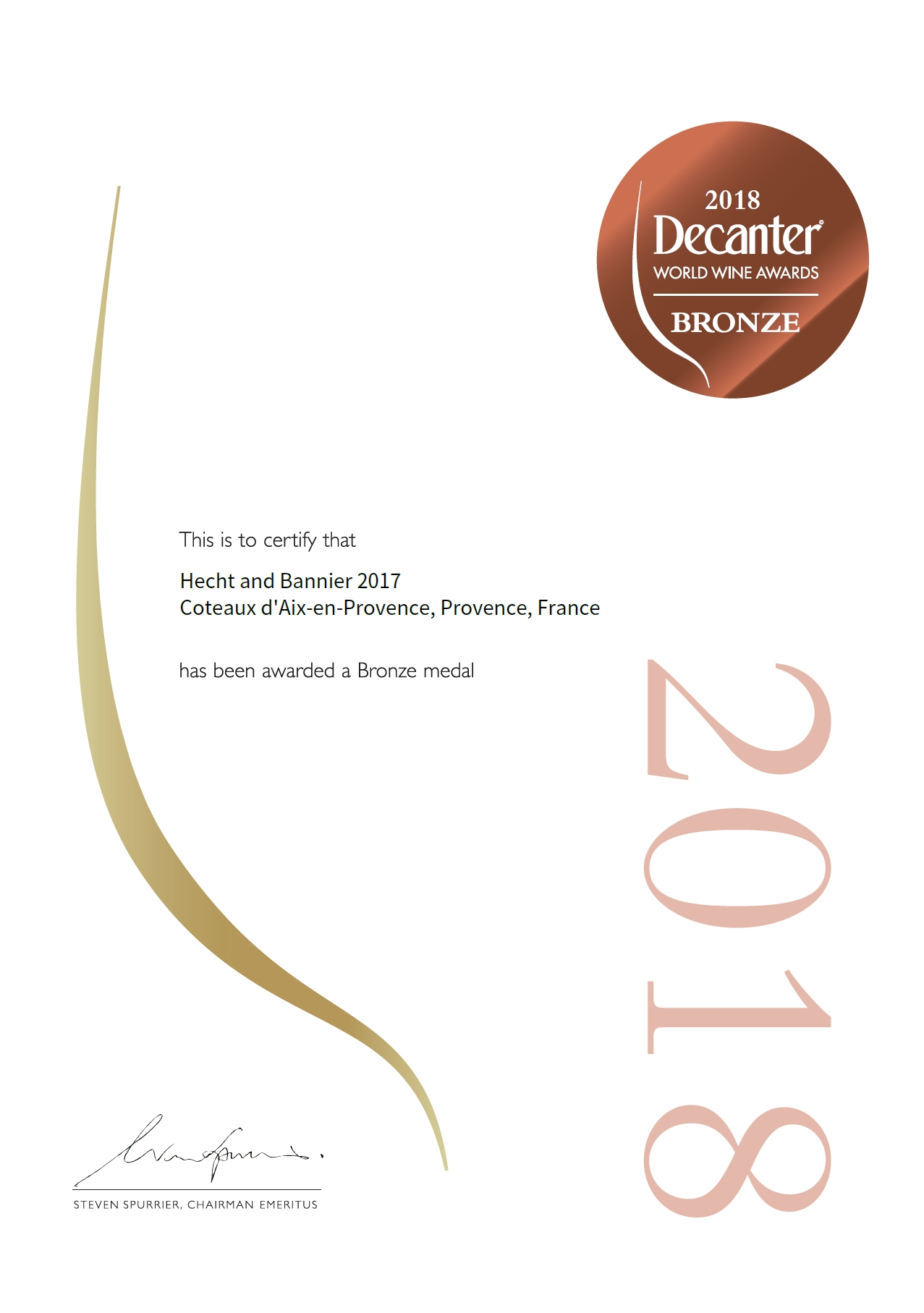 decanter world wine awards / coteaux d'aix-en-provence rosé 2017