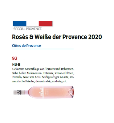 h&b provence rosé rated 92 in meininger frankreich spezial